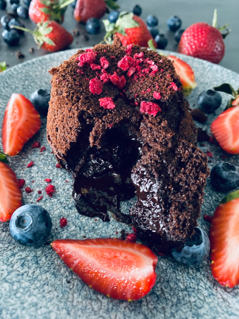 Healthy Chocolate Lava cake with Berries