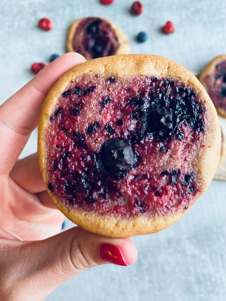 Healthy Berry Buns with Fresh Strawberries and Blueberries